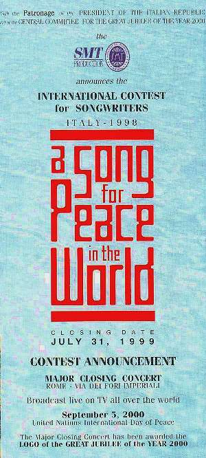 A SONG FOR PEACE - SMT DEPLIANT 1998